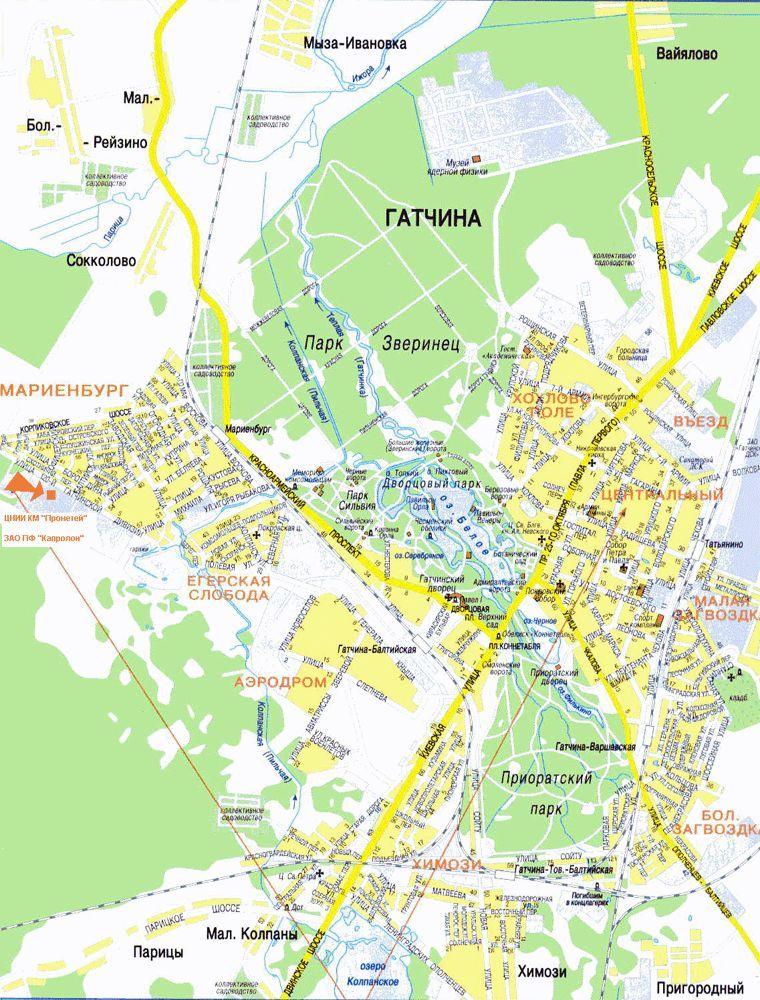 Карта города Гатчина