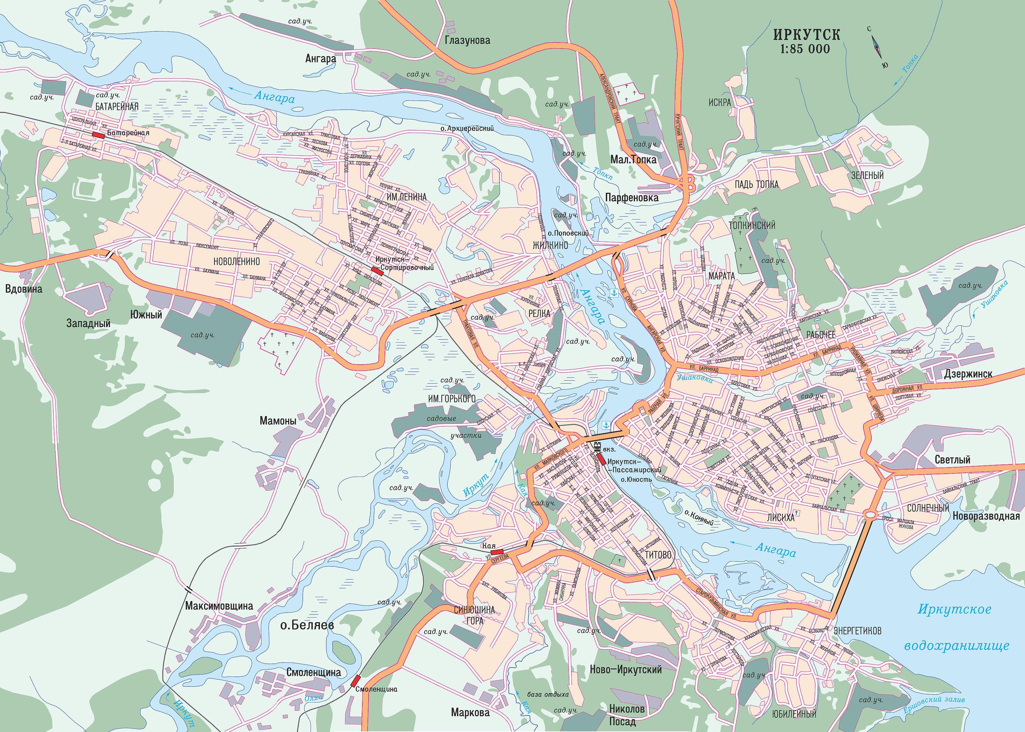 карта - схема усольского района иркутской области