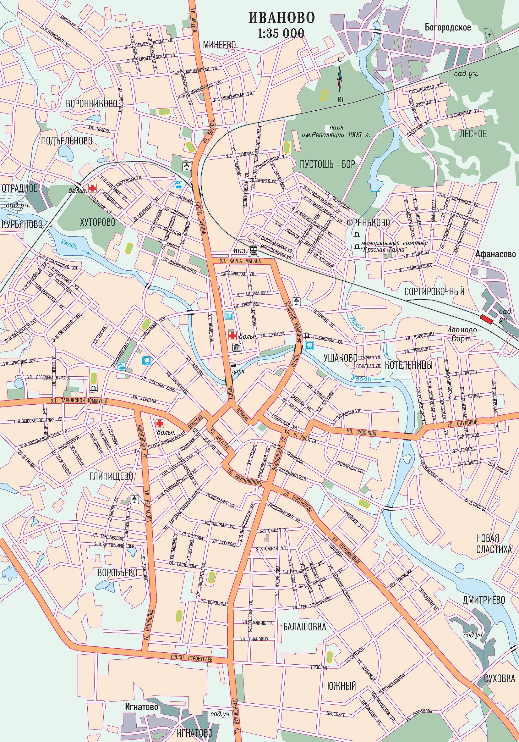 Карта Иваново Map of Ivanovo.