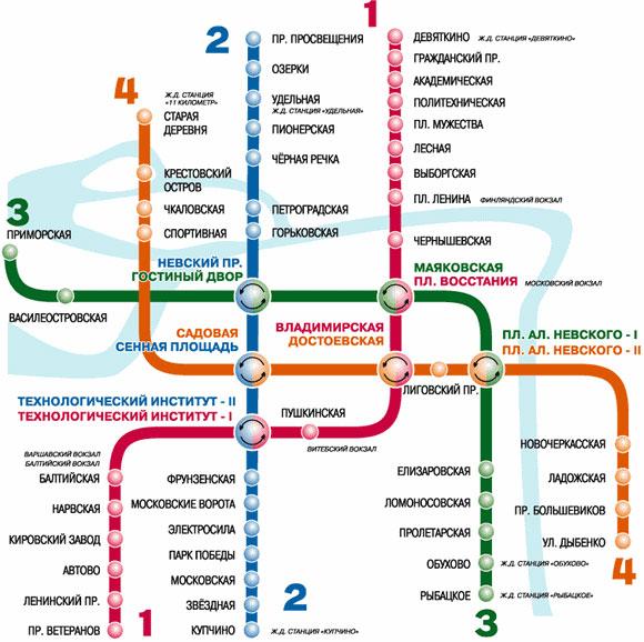 Карта метрополитена г. Санкт-