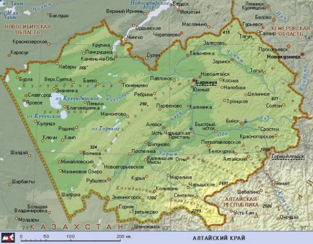 Карта Алтайский край