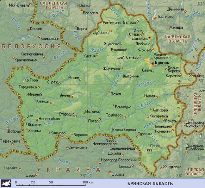 Географическая карта Брянской области - Карты городов России