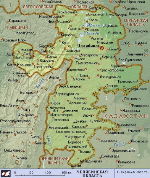 Карта Челябинская обл