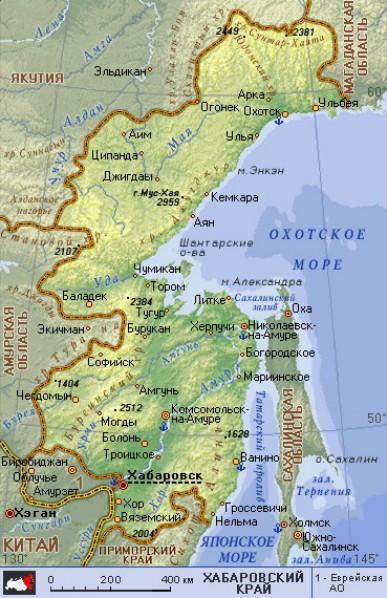 Карту Хабаровского Края