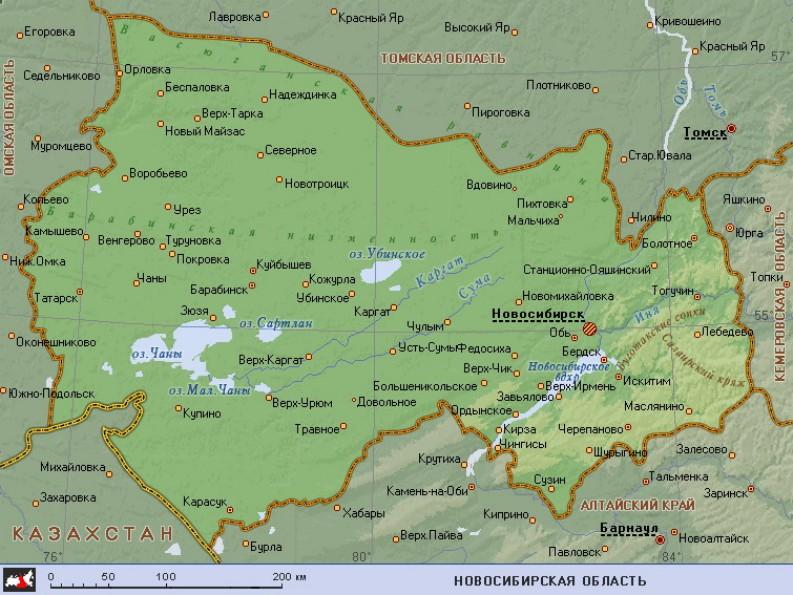 Географическая карта новосибирской