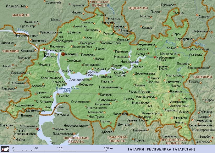 Карта Татарстан
